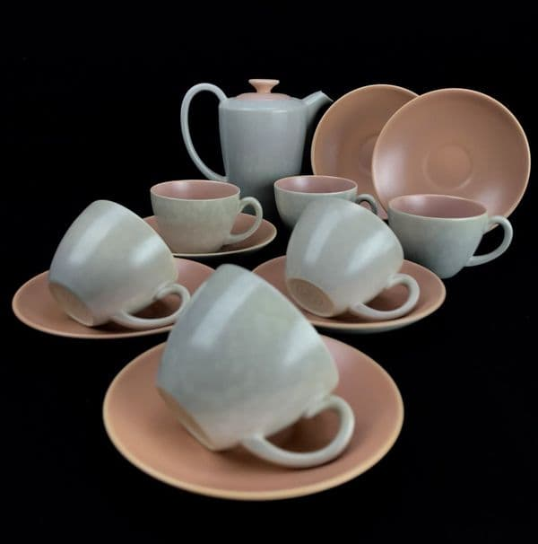 Poole Pottery Twintone Coffee  Set / For 6 People / Pink / Grey Twin Tone Miniature